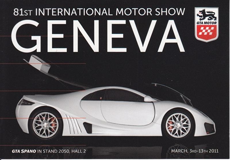 GTA Spano, postcard, continental size, Geneva show, 2011