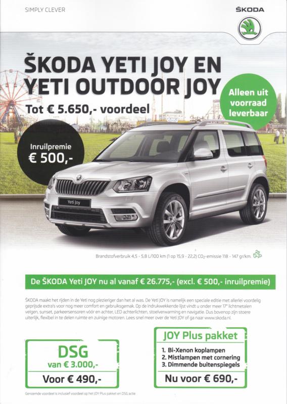 Yeti/Yeti Outdoor Joy brochure, 6 pages, Dutch language, 11/2016