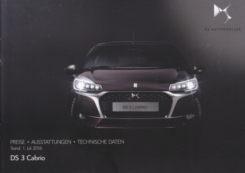 DS 3 Cabrio prices & specifications brochure, 24 pages, 07/2016, German language