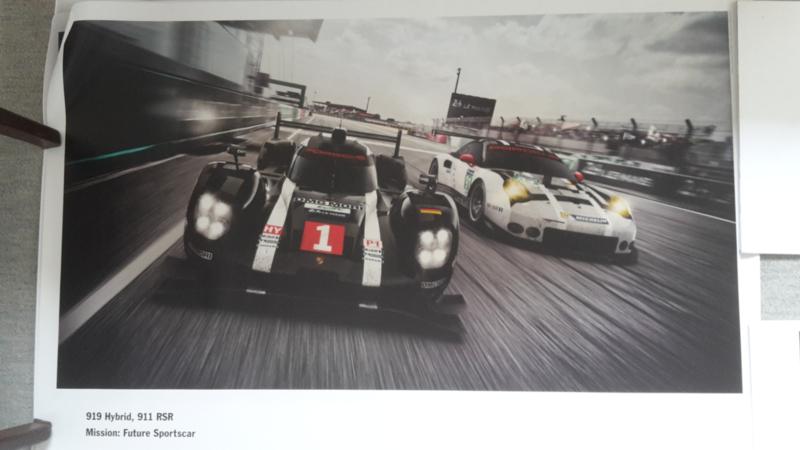 919 Hybrid & 911 RSR sportscar large original factory poster, published 02/2016