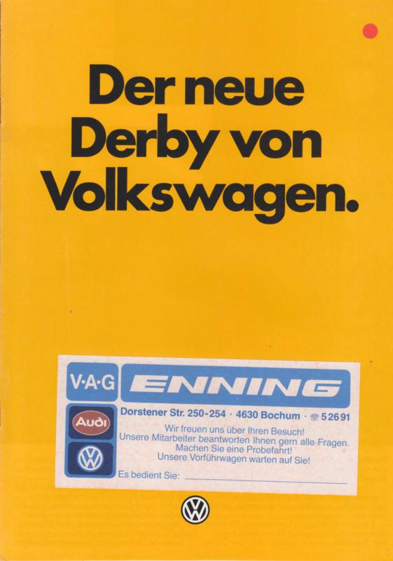 Derby 2-door brochure, 8 pages,  A4-size, German language, 9/1981
