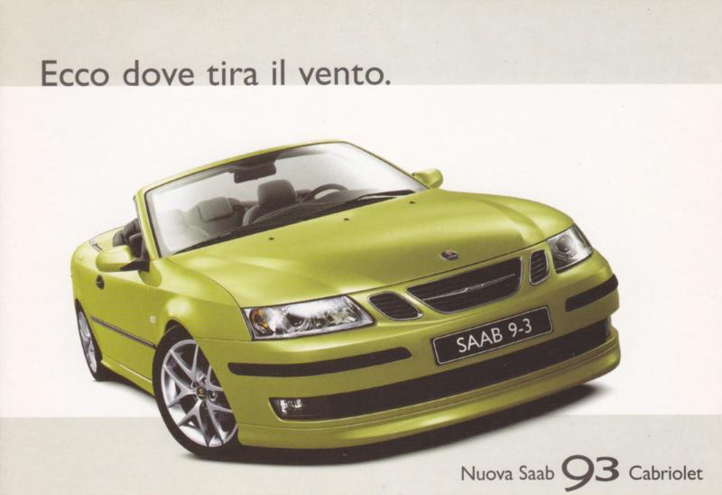 9-3 Cabriolet postcard, A6-size, Promocard, Italian language, # 3844
