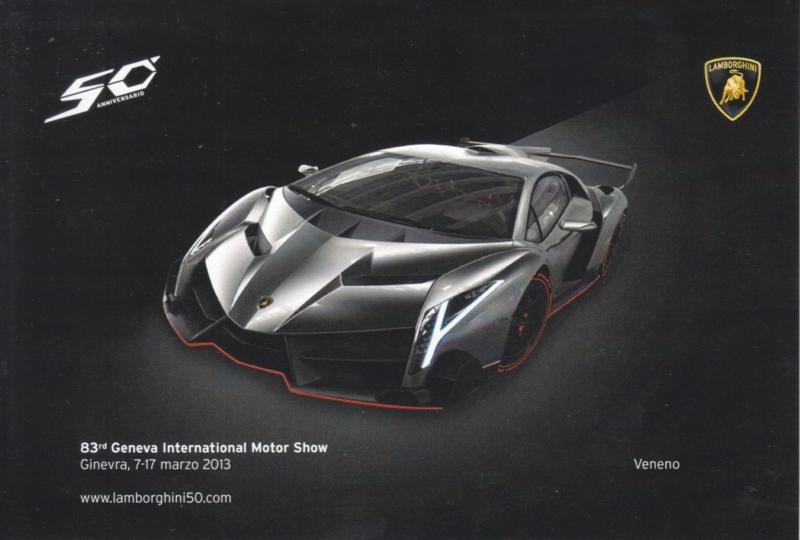 Lamborghini Veneno, advertising postcard, factory-issued, 03/2013