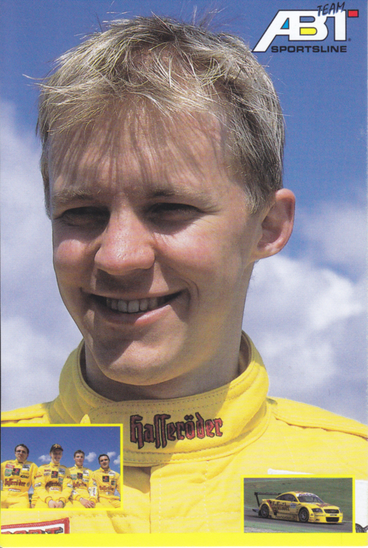 TT with racing driver Matthias Ekström, unsigned postcard 2001 season, German language