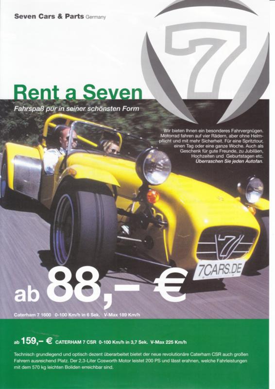 Caterham Super 7 1600/CSR  rental leaflet, 2 pages, about 2009, German language