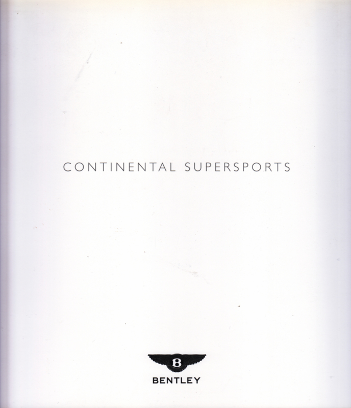 Bentley Continental Supersports brochure, 32 pages, 2009, English language
