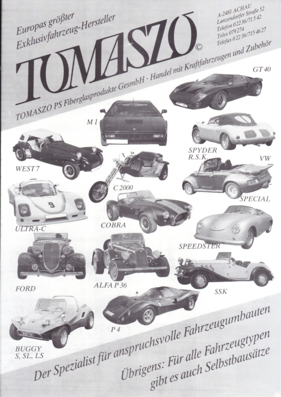Tomaszo replica program leaflet, 2 pages, about 1987, German language (Austria)