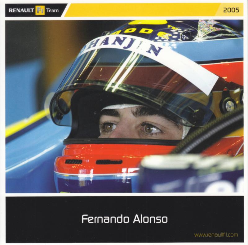Fernando Alonso Formula 1 driver, square postcard, 2005