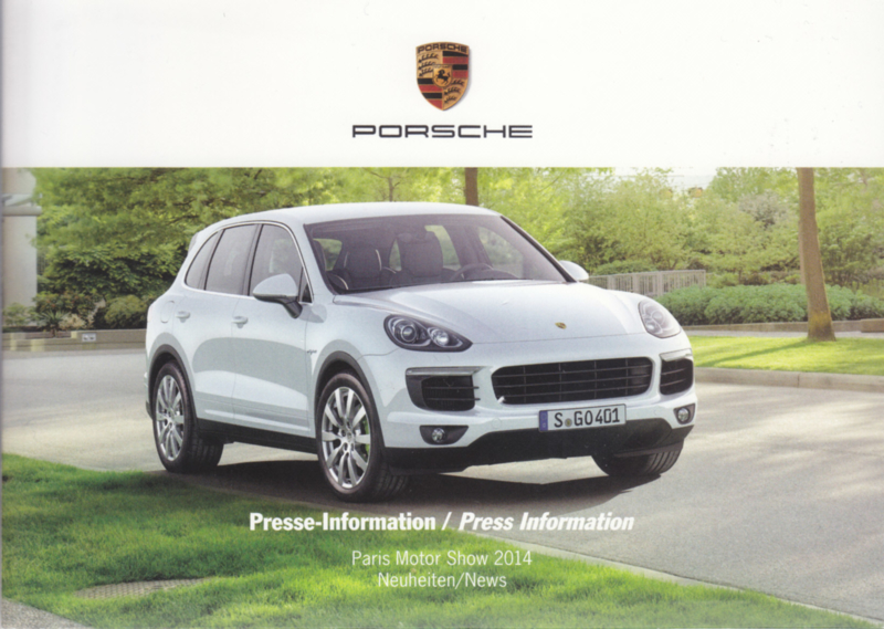 Porsche Press Kit Paris 2014, memory stick with pictures & small booklet, factory-issued,  German/English