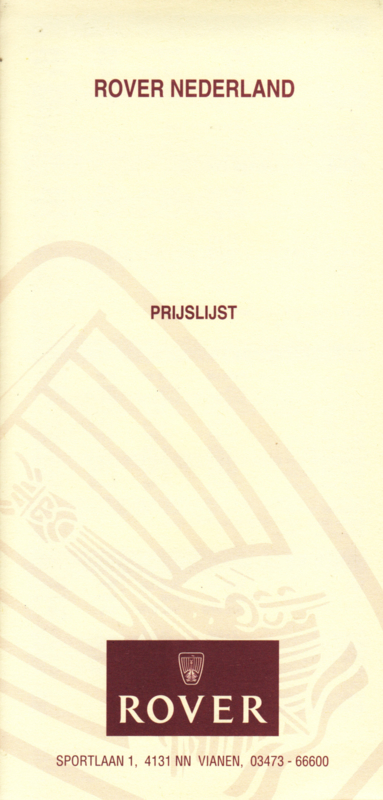 Pricelist folder, 6 smaller pages, 1994/95, Dutch language