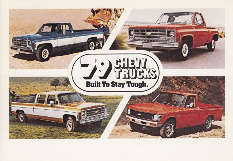 Chevy Trucks, 4 pickups,  US postcard, standard size, 1979