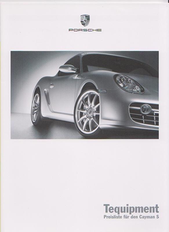 Cayman S Tequipment pricelist, 28 pages, 06/2005, German