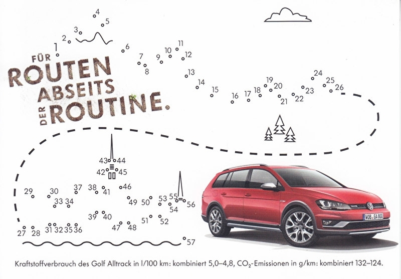 Golf Alltrack, A6-size postcard, German, 2015