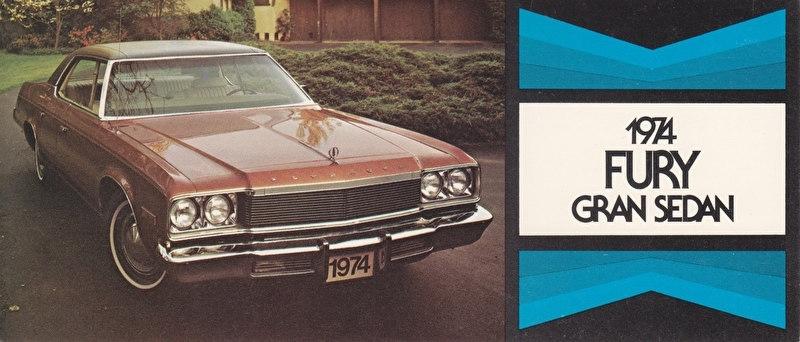 Fury Gran Sedan, US postcard, size 19 x 8 cm, 1974