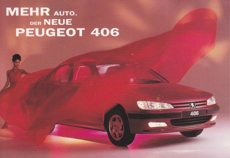 406 Sedan postcard, A6-size, 1995, German language
