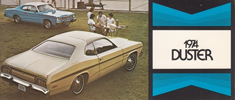 Duster, US postcard, size 19 x 8 cm, 1974