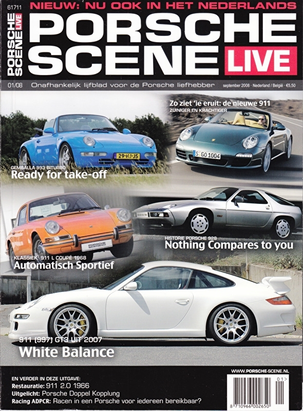 Porsche Scene Live, Dutch language, # 01, Sept. 2008, 84 pages