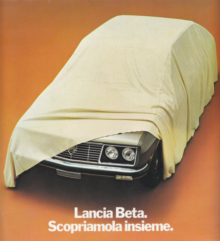 Beta Berlina brochure, square size, 8 pages, about 1973, Dutch language