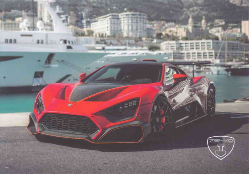 Zenvo TS1 sports car, A5-size postcard, factory-issued, 2018, month: March