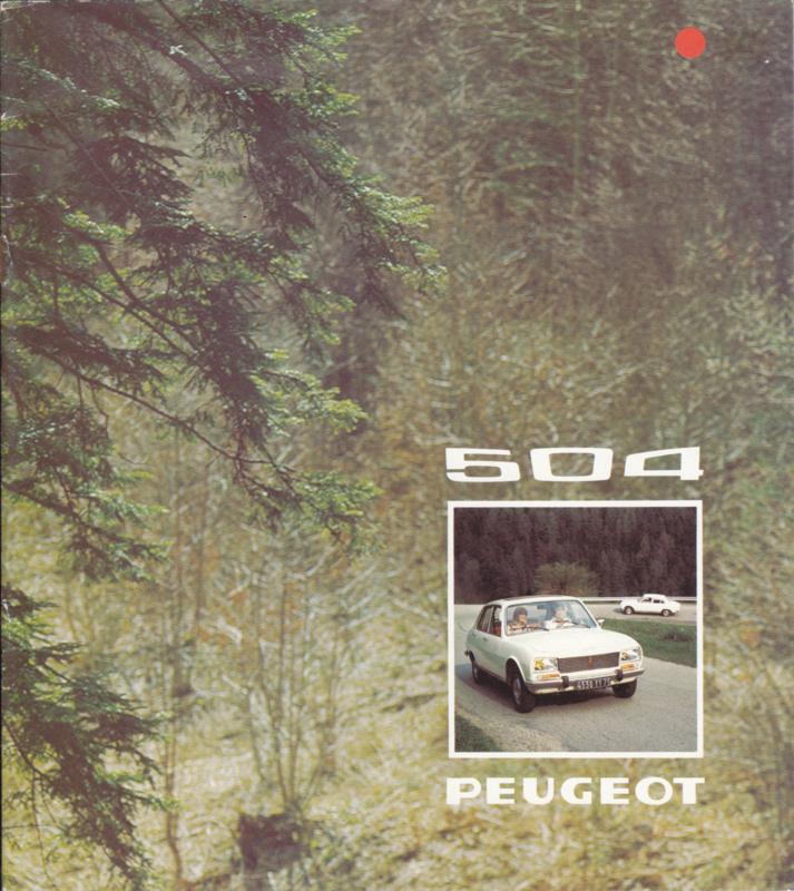 504 Sedan brochure, 12 pages, Dutch language, 1974