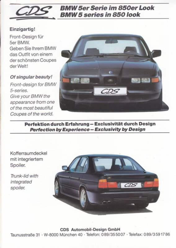 5-Series in 850er look by CDS, 3x2 pages, A4-size, 9/1991, German/English language
