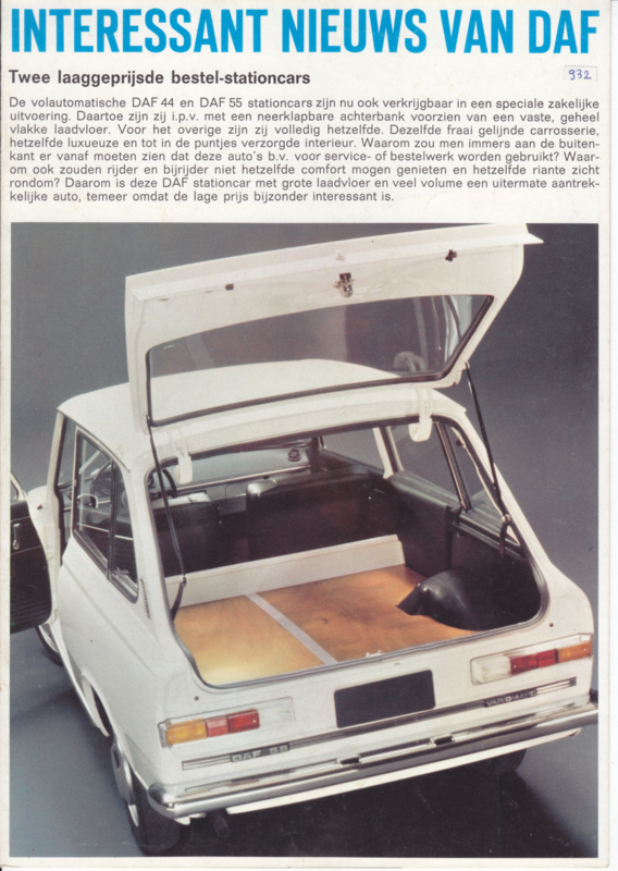44 & 55 Stationcar-Vans variomatic brochure, 4 pages, 08/69, Dutch language