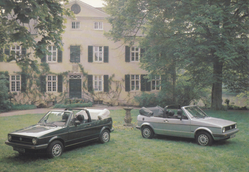 VW Golf Cabriolet by Karmann,  A6-size card, 1980s, German