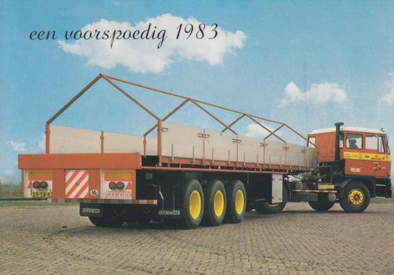 DAF tractor with coil trailer 3 axle, DIN A6-size postcard, Dutch issue, 1983