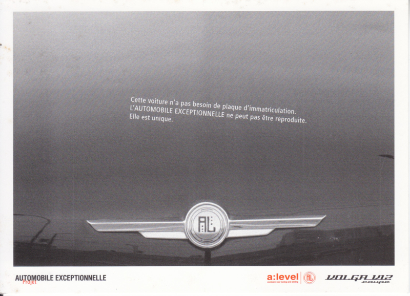 V12 Coupé by a:level detail, DIN A6-postcard, French language, 2001