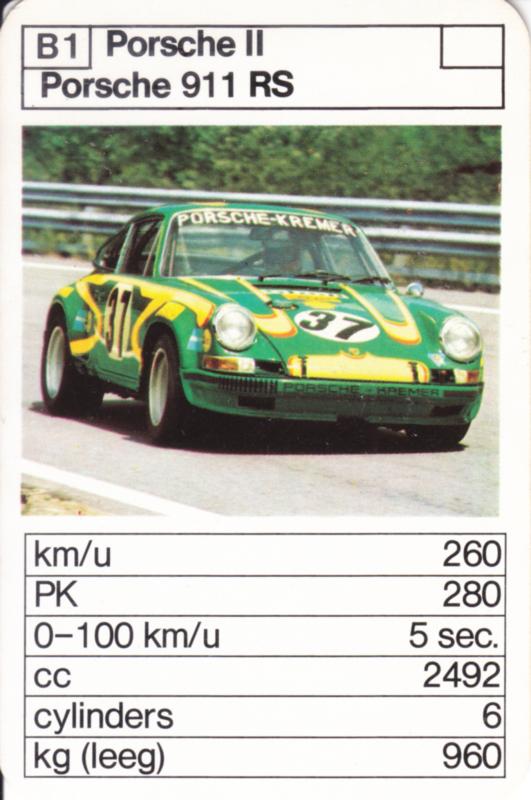 911 RS - card B1 - size 10 x 6,5 cm, Dutch language