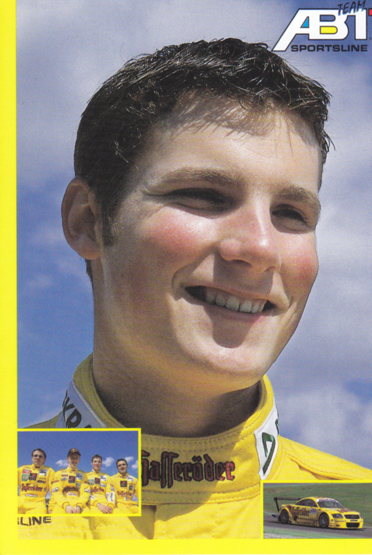 TT with racing driver Martin Tomczyk, unsigned postcard 2001 season, German language