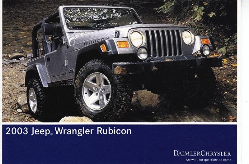 Jeep Wrangler Rubicon, A6-size postcard, NAIAS 2002