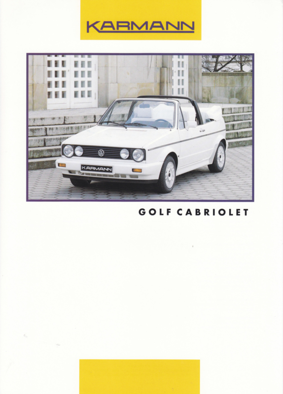 VW Golf Cabriolet by Karmann brochure, 2 pages, about 1992, 3 languages