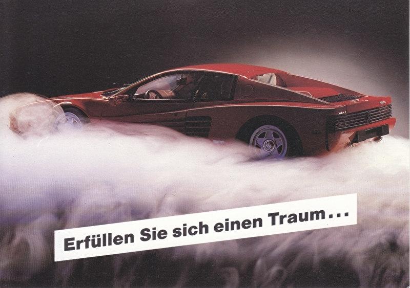Testa Rossa, A6-size postcard, Hella KG issue, 1991, German language