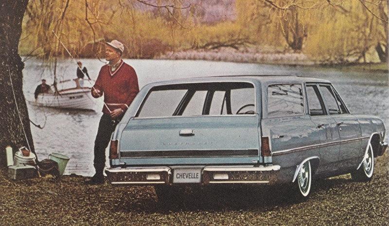 Malibu 4-Door Station Wagon, US postcard, standard size, 1965, # 14