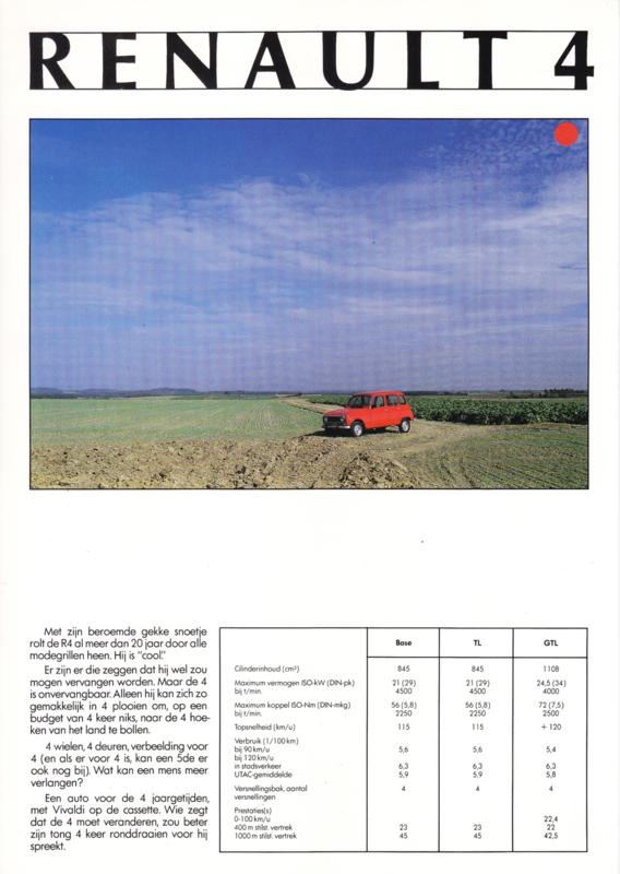 4 Base/TL/GTL leaflet, 1 page, about 1984, A4-size, Dutch language (Belgium)