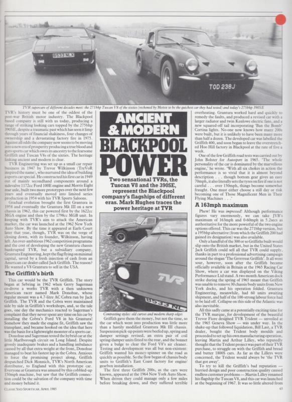 Tuscan V8 & 390SE roadtest Classic and Sportscar magazine, 4 pages, English language, 4/1985 *