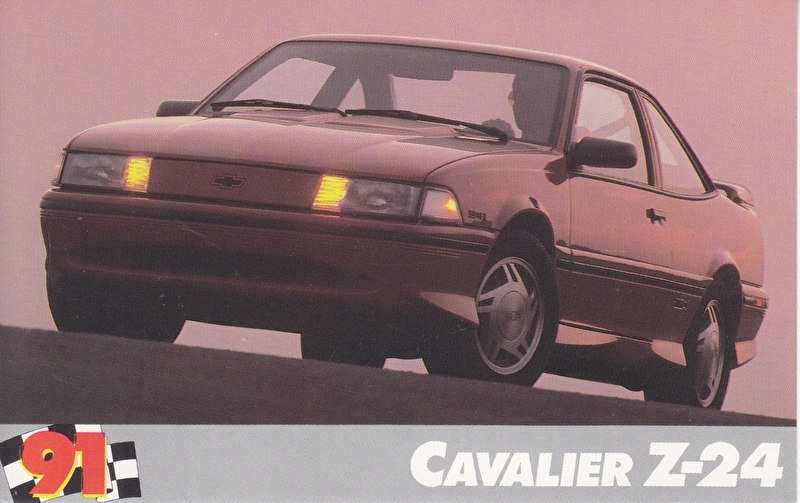 Cavalier Z-24,  US postcard, standard size, 1991