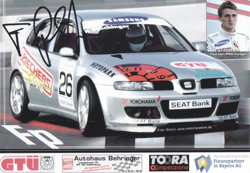 Leon racer driver Florian Plöchinger postcard, DIN A6 size, German language, 2005