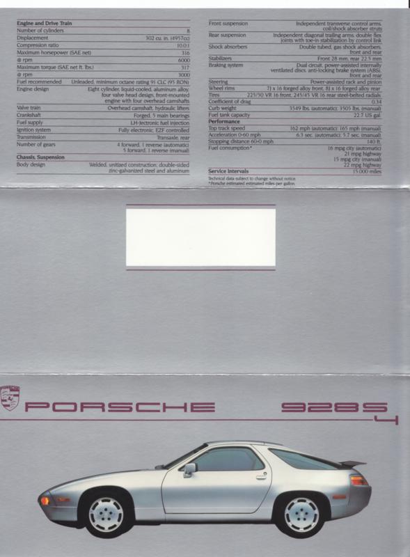 928 S4 brochure, 6 pages, 1987, English (USA)