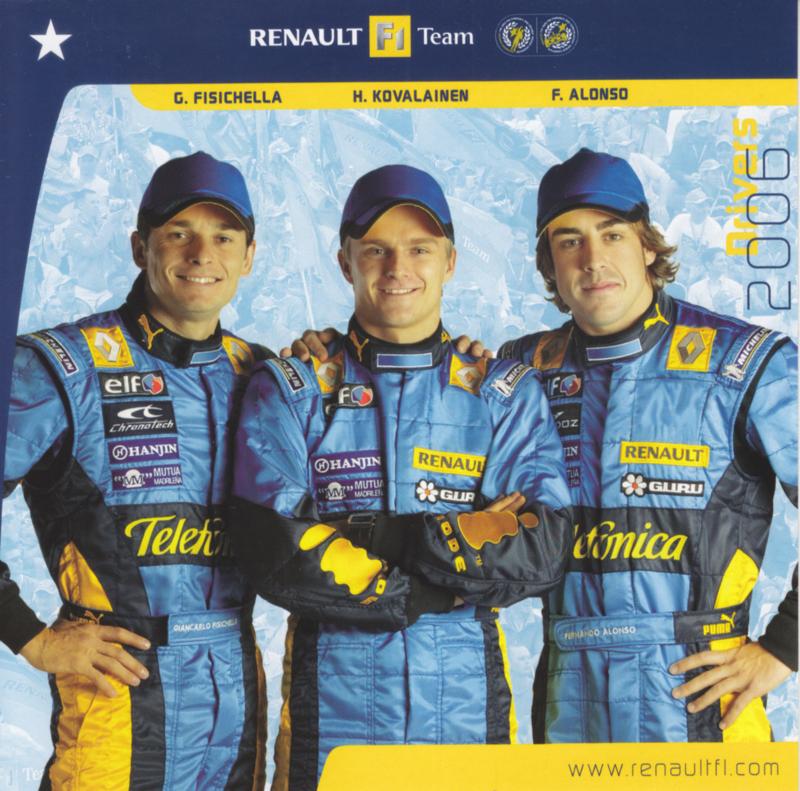 Formula 1 team drivers Fisichella, Kovalainen & Alonso, square postcard, 2006