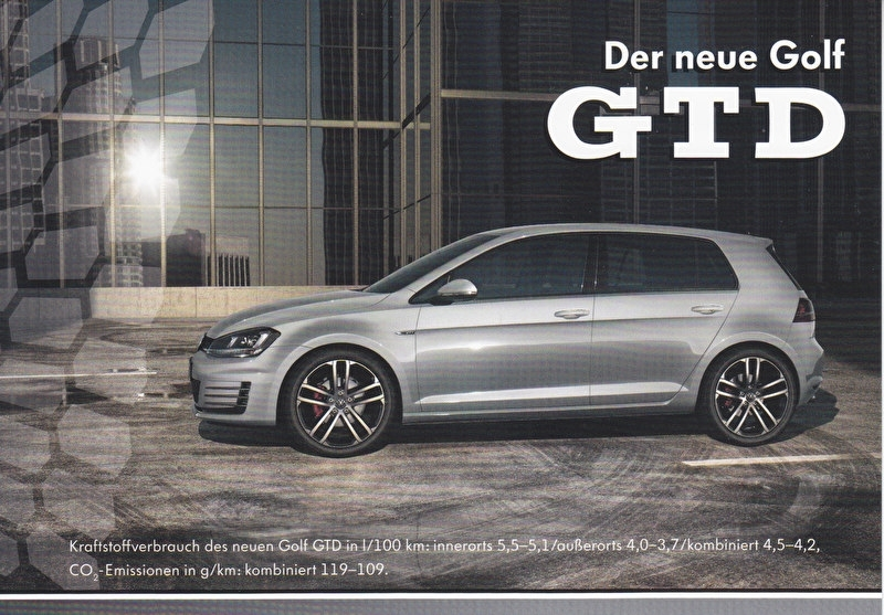 Golf GTD, A6-size postcard, German, 2013