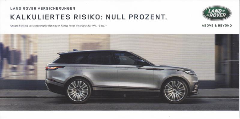Velar insurance  brochure, 6 smaller pages, 2017, German language