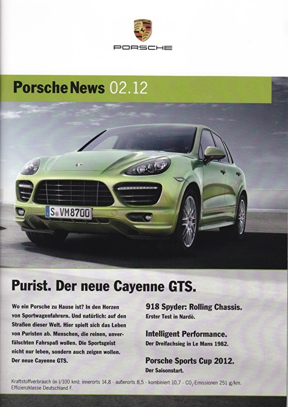 News 02/2012 with Cayenne GTS, 30 pages, 05/12, German language