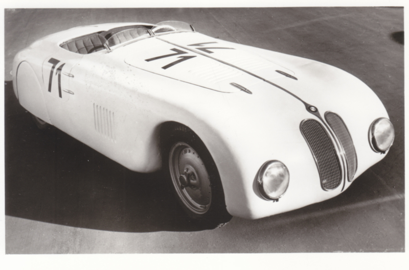 """Racing Sports car """"Mille Miglia""""6 cyl., DIN A6-size photo postcard, 1939-40, 4 languages"""