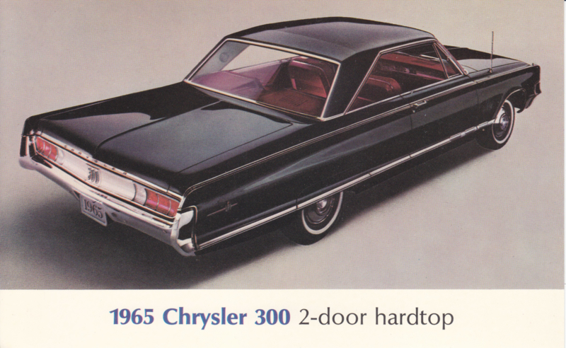 300 2-Door Hardtop, US postcard, large size, 1965