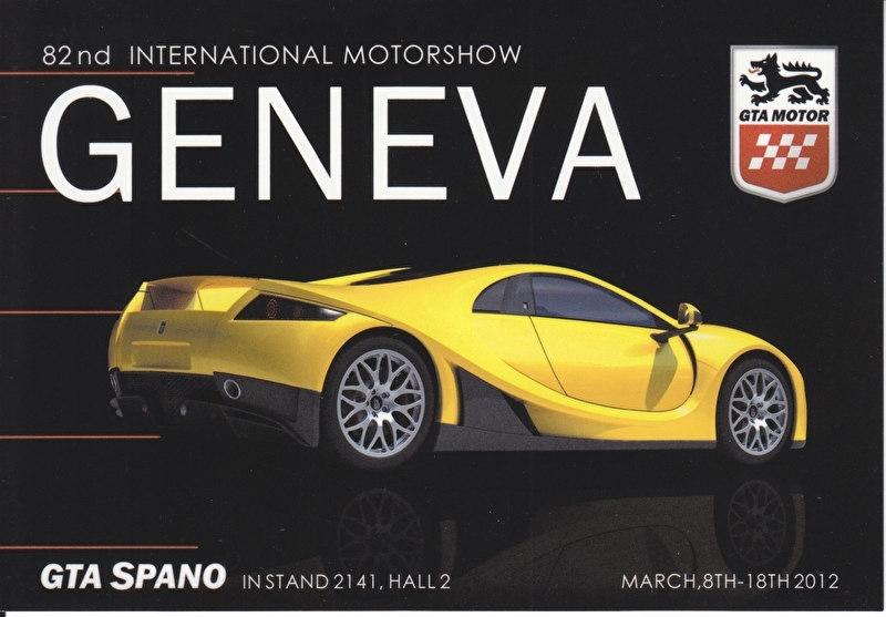 GTA Spano, postcard, continental size, Geneva show, 2012