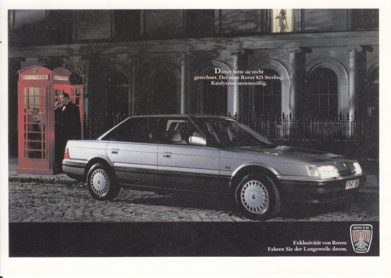 825 Sterling, advertising postcard, DIN A6-size, German language, 1987