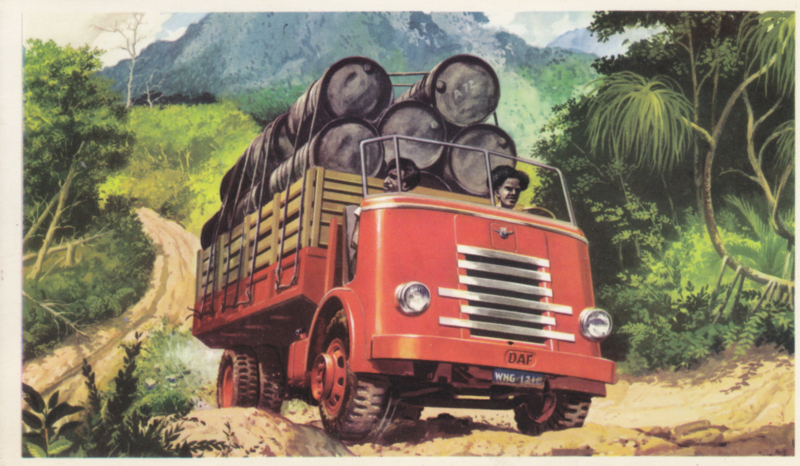 Truck with oil barrels, standard size, factory issue, 5 languages, about 1958