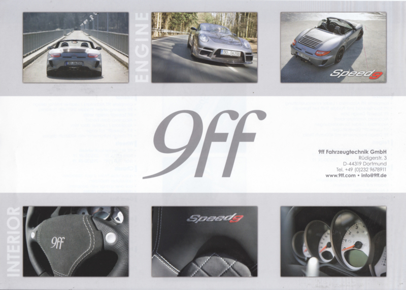 911 Speed 9 Bi-Turbo by 9ff leaflet, 2 pages, about 2009, German/English language